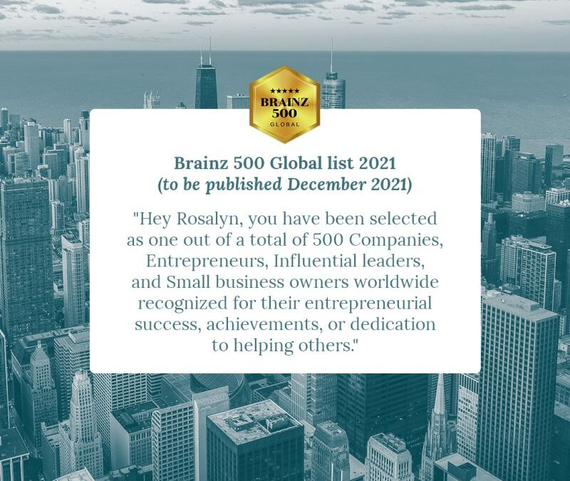 Sometimes it is just so exciting when you check your emails and one like this appears – Brainz 500 Global list of 2021